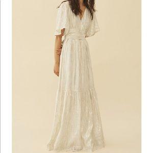 White and gold Maxi dress. Brand: BA&SH